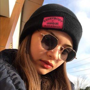 NEW Black Gold Hexagon Rayban-Like Sunglasses